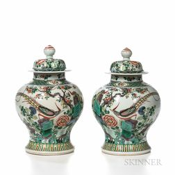 Pair of Famille Verte Jars and Covers