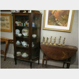 Late Victorian Glass Bent-Panel and Oak Demi-lune China Cabinet
