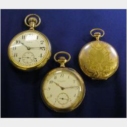 Three 14kt Gold Pocket Watches, Omega, Elgin, The Cowell & Hubbard Co.