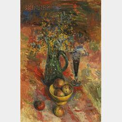 Yuri Pavlovich Annenkov (Russian, 1889-1974)      Still Life with Fruit and Flowers