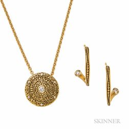 18kt Gold and Diamond Pendant and Earrings, Alex Sepkus