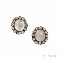 Silver, Moonstone, and Diamond Earrings