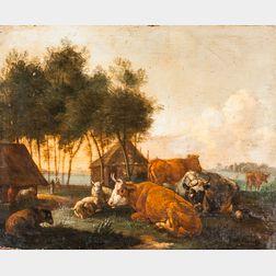 School of Nicolaes Petersz Berchem (Dutch, 1620-1683)      Cattle and Sheep in a Farm Landscape
