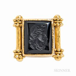 Elizabeth Locke 18kt Gold and Onyx Intaglio Ring