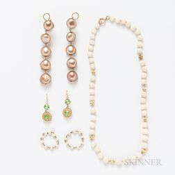 Group of Cultured Pearl and Coral Jewelry