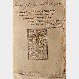 Aretino, Leonardo (c. 1370-1444) Libro della Prima Guerra delli Carthaginesi