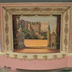 Collection of Lithograph Puppet Theatre Backdrops and a Gilt and Paint-decorated   Puppet Theatre Proscenium