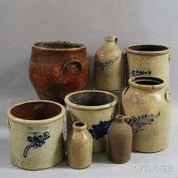 Eight Mostly Cobalt-decorated Stoneware Vessels
