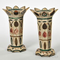 Carved and Painted Wooden Vases