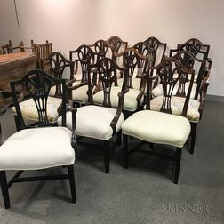 Thirteen George III-style Carved Mahogany Dining Chairs.     Estimate $20-200