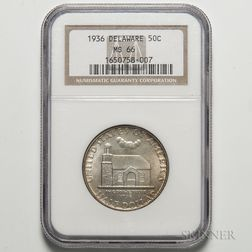 1936 Delaware Commemorative Half Dollar, NGC MS66.     Estimate $200-300