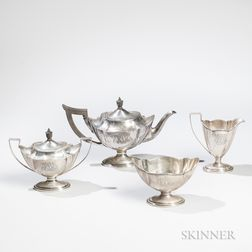 """Four-piece Gorham """"Plymouth"""" Pattern Sterling Silver Tea Service"""