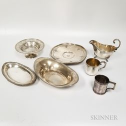 Seven Pieces of Sterling Silver and Silver-plated Hollowware