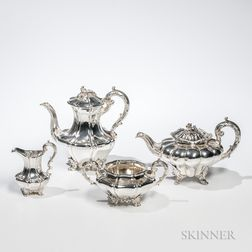 Assembled Four-piece William IV Sterling Silver Tea and Coffee Service
