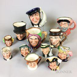 Twelve Royal Doulton Ceramic Face Jugs