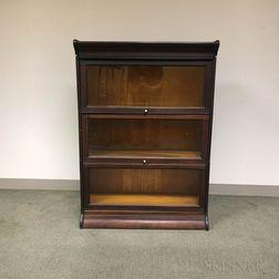 Glazed Mahogany Veneer Three-stack Barrister Bookcase