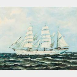 Joseph (Johann) Glotzer (American, 1925-2007)      Two Paintings: Ship with Blue Sky