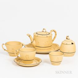 Seven-piece Modern Wedgwood Caneware Tea Set.     Estimate $20-200