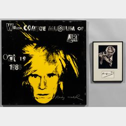 Two Framed Works Featuring Andy Warhol (American, 1928-1987):      After Yousuf Karsh (Armenian/Canadian, 1908-2002), Andy Warhol