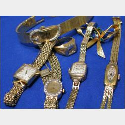 Five 14kt Gold Watches and Two Jewelry Items