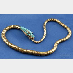 Antique 14kt Gold, Turquoise and Gem-set Snake Necklace