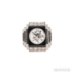 Art Deco Platinum, Onyx, and Diamond Ring, Rene Boivin