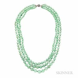 Jadeite Bead Three-strand Necklace