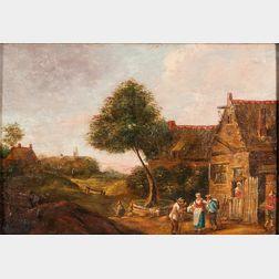 Dutch School, 17th Century Style      Villagers in a Landscape.