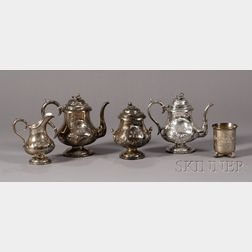 Four-Piece Coin Silver Tea and Coffee Service and a Footed Cup