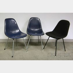 Pair of Eames Blue Leather Upholstered Side Chairs and an Eames Upholstered Side   Chair
