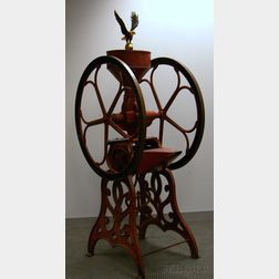 Fairbanks Morse & Co. Red-painted Cast Iron and Tin Retail Floor Standing Coffee   Mill
