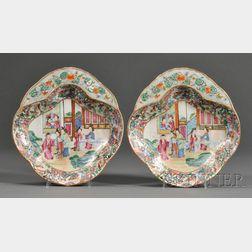Two Rose Mandarin Porcelain Shrimp Dishes