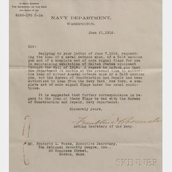 Roosevelt, Franklin Delano (1882-1945) Typed Letter, Signed,   Washington, D.C., 21 June 1916.