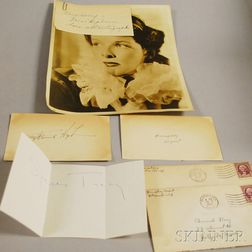 Katherine Hepburn, Humphrey Bogart, and Spencer Tracy Autographs