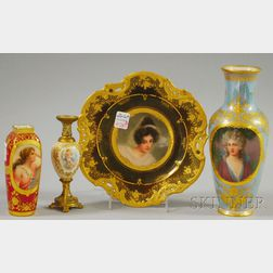 Four Assorted Continental Hand-Painted Portrait-decorated Porcelain Items