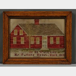 Needlework Picture of a Red House