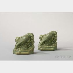 Pair of Rookwood Green Matte-glazed Raven Bookends