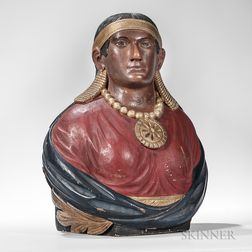 Carved and Painted Wooden Indian Maiden Bust