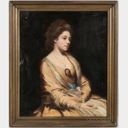 British School, Late 18th Century Style      Seated Woman in Yellow Cradling a Dove