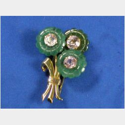 Retro Bi-color 18kt Gold and Gem-set Brooch