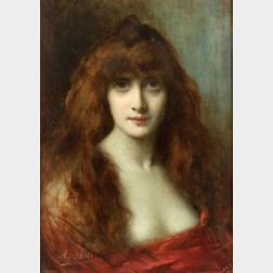 Angelo Asti (French, 1847-1903)  Portrait of a Red Head