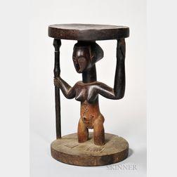 Luba Carved Wood Stool