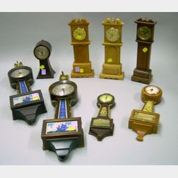 Lot of Eight Assorted Miniature Wall and Novelty Clocks