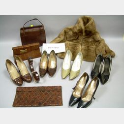 Seven Pairs of Women's Shoes, Three Reptile Purses, a Belt, and a Mink Stole