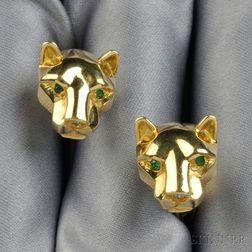 18kt Gold Gem-set Cuff Links
