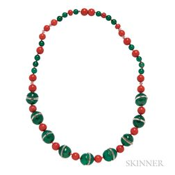 Art Deco Chalcedony, Coral, and Faceted Rock Crystal Bead Necklace
