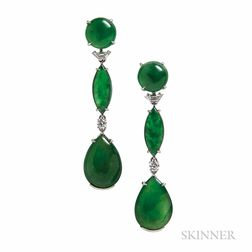 Platinum, Jade, and Diamond Earrings, Wedderien