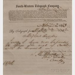 Buckner, Simon Bolivar (1823-1914) Signed Telegram Form.   Mobile, Alabama, 2 April 1865.