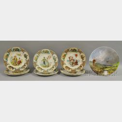 """Eight Sarreguemines """"Nations"""" Plates and a Hand-painted Plate with Ducks"""