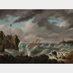 After Benson J. Lossing/William Barritt (New York, 19th Century)      The Life Car Rescue of Crew of a Ship in Distress.